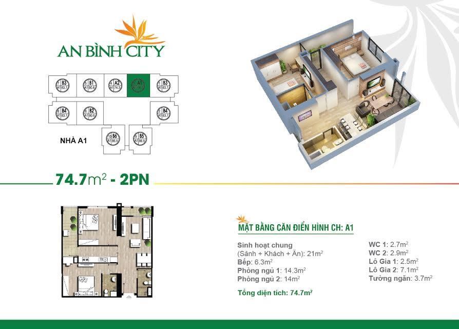 Căn 2 ngủ 74.7m dự án An Bình City - lh mua căn hộ 0987 065 557
